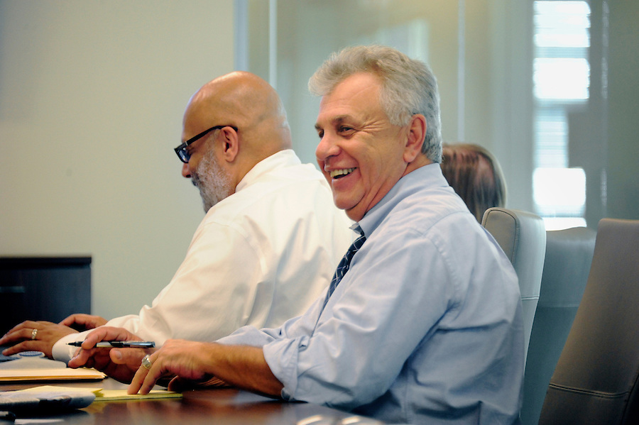 Tim Martin AME News in a budget meeting for the Pittsburgh Post-Gazette retires September, 2015.<br /> <br /> Post-Gazette's new newsroom is at 358 North Shore Dr. in Pittsburgh.