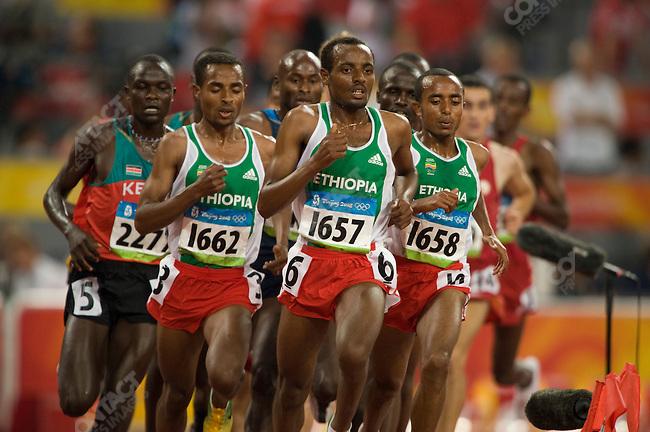 Men's 5000m final, Kenenisa Bekele #1662 (Ethiopia) -gold, National Stadium, Summer Olympics, Beijing, China, August 23, 2008