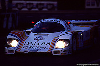 LE MANS, FRANCE: The Porsche 956 101 driven by  Rusty French, David Sutherland and  Tiff Needell enroute to a 9th place finish in the 1984 24 Hours of Le Mans on June 17, 1984, at Circuit de la Sarthe in Le Mans, France.