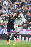 Gerard Moreno Balaguero of RCD Espanyol  fights for the ball during the match Real Madrid vs RCD Espanyol, a La Liga match at the Santiago Bernabeu Stadium on 18 February 2017 in Madrid, Spain. Photo by Diego Gonzalez Souto / Power Sport Images