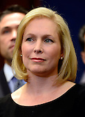 United States Senator Kirsten Gillibrand (Democrat of New York) listens during a press conference by Governor Andrew Cuomo (Democrat of New York) in the U.S. Capitol following a series of meetings with Congressional Leadership on Monday, December 3, 2012..Credit: Ron Sachs / CNP.(RESTRICTION: NO New York or New Jersey Newspapers or newspapers within a 75 mile radius of New York City)