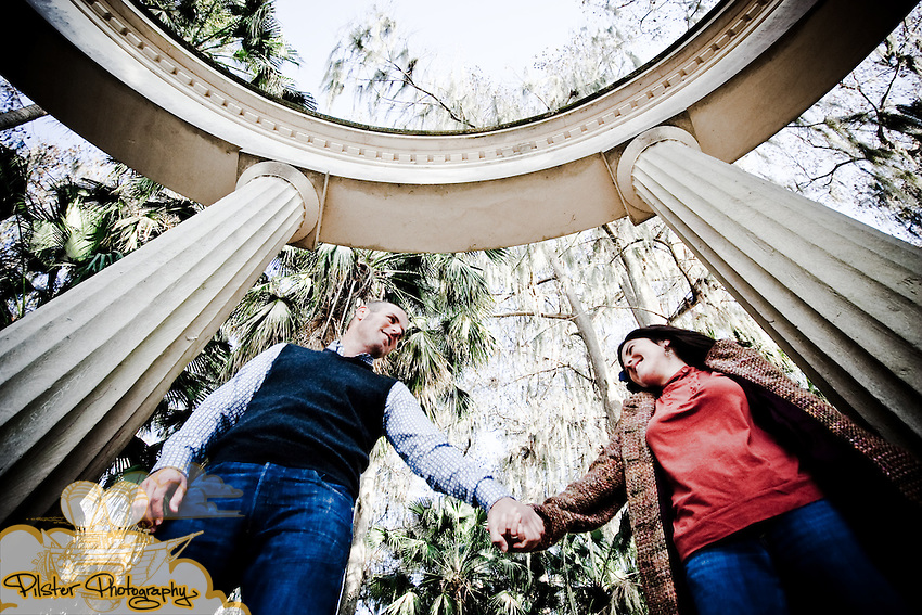 Nicolle Avery and John Masters during their engagement session on Saturday, February 13, 2010, at Kraft Azalea Garden in Winter Park, Florida. They started at Kraft Azalea Garden in Winter Park. This is where John had propsed. They then moved to Stardust Cofee, Orlando's oldest coffee house, where they had met for the first time.  (Chad Pilster, http://www.PilsterPhotography.net)