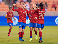 HOUSTON, TX - JANUARY 28: Jazmin Elizondo #19 and Raquel Chacon #20 of Costa Rica celebrate a goal during a game between Costa Rica and Panama at BBVA Stadium on January 28, 2020 in Houston, Texas.