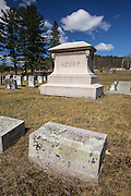 Gravesite of J.E. Henry  (1831 - 1912) at Glenwood Cemetery in Littleton, New Hampshire USA. J.E. Henry was a 20th century timber baron known for his East Branch & Lincoln Railroad in Lincoln, New Hampshire. He died on April 18, 1912.