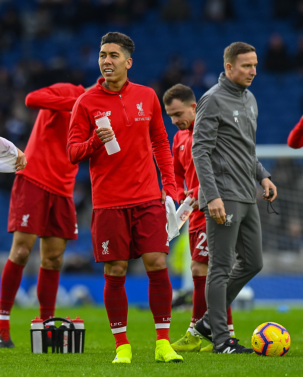 Liverpool's Roberto Firmino during the prematch warmup<br /> <br /> Photographer David Horton/CameraSport<br /> <br /> The Premier League - Brighton and Hove Albion v Liverpool - Saturday 12th January 2019 - The Amex Stadium - Brighton<br /> <br /> World Copyright © 2018 CameraSport. All rights reserved. 43 Linden Ave. Countesthorpe. Leicester. England. LE8 5PG - Tel: +44 (0) 116 277 4147 - admin@camerasport.com - www.camerasport.com