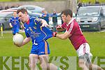 Padraig McCarthy (Ballymacelligott) with Joseph O'Shea (Dromid) at Ballymacelligott GAA grounds on Sunday in Div 3-5th round of the football league.