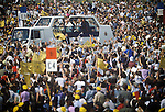 Pope John Paul 2 visits Glasgow Scotland UK 1982. Huge crowd Roman Catholics attend the Pope travels in his Popemobile through Bellahouston Park 1980s