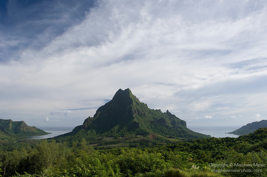 Belvedere, Moorea, French Polynesia; views of Mount Rotui (center) from the lookout point at Belvedere , Copyright © Matthew Meier, matthewmeierphoto.com All Rights Reserved