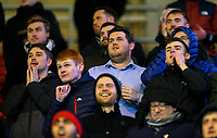 Preston North End fans nervously wait for the final whistle<br /> <br /> Photographer Alex Dodd/CameraSport<br /> <br /> The EFL Sky Bet Championship - Middlesbrough v Preston North End - Wednesday 13th March 2019 - Riverside Stadium - Middlesbrough<br /> <br /> World Copyright &copy; 2019 CameraSport. All rights reserved. 43 Linden Ave. Countesthorpe. Leicester. England. LE8 5PG - Tel: +44 (0) 116 277 4147 - admin@camerasport.com - www.camerasport.com