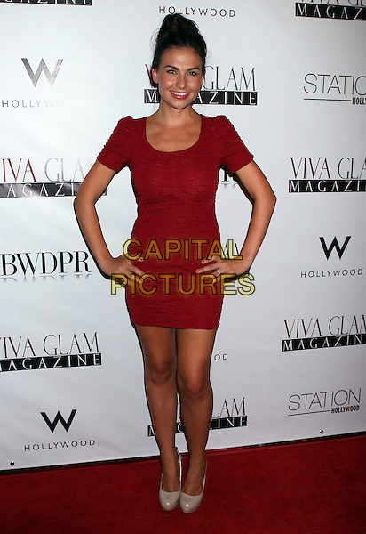 Stacy Hall.Viva Glam Magazine September 2012 Issue Launch held at Station Hollywood, Hollywood, California, USA..July 31st, 2012.full length red dress hands on hips.CAP/ADM/RE.©Russ Elliot/AdMedia/Capital Pictures.