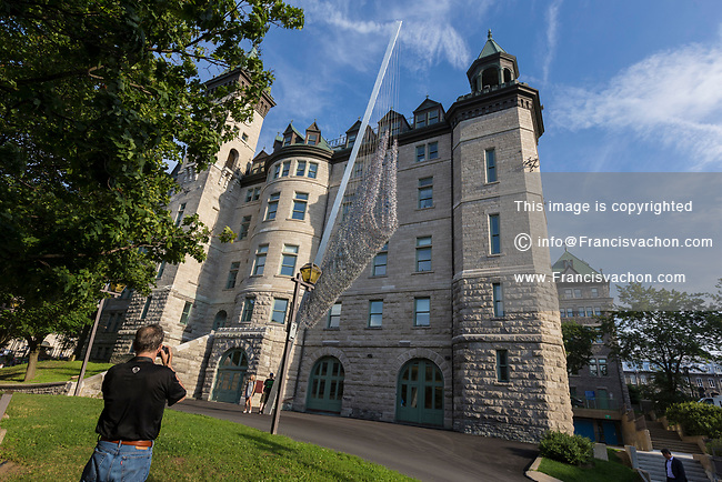 Codex Populis, an artwork by Ludovic Boney that commemorate the 1864 Quebec conference, is pictured by Quebec city hall Tuesday July 11, 2017.