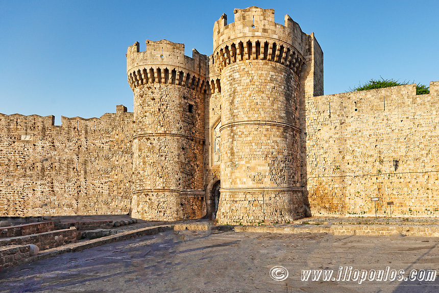 An entrance in the medieval castle in the old city of Rhodes, Greece