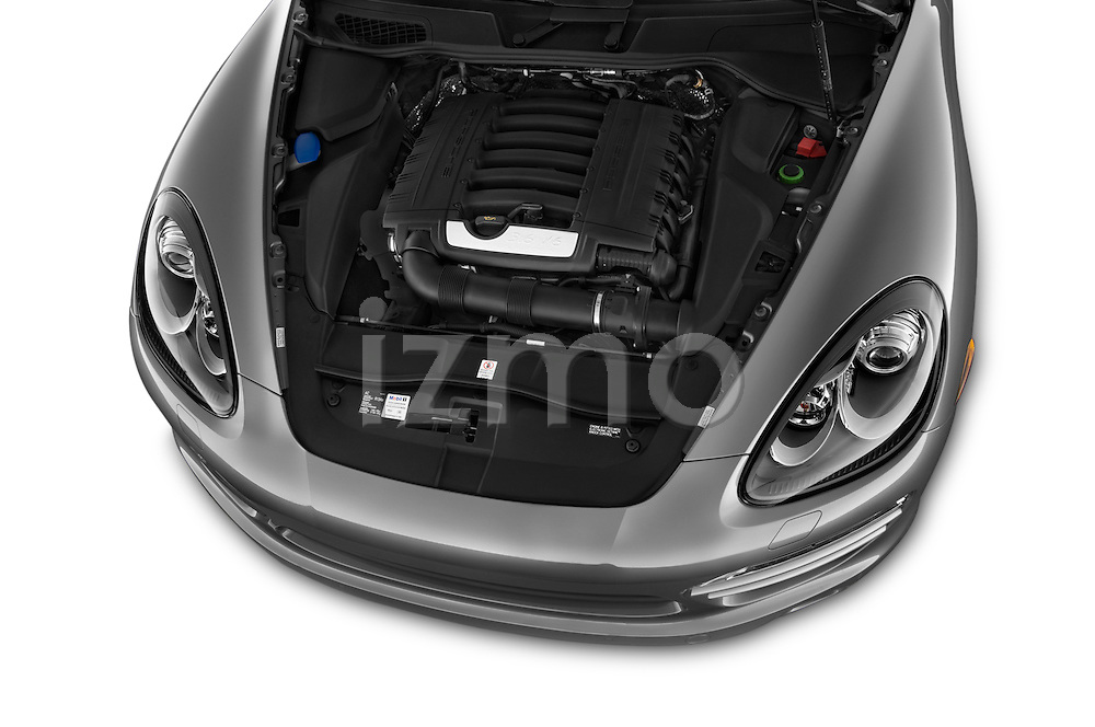 Car Stock 2014 Porsche Cayenne Platinum Edition 5 Door SUV Engine high angle detail view