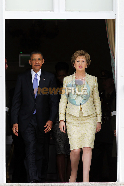 23-5-11.......    Photo shows President Barack Obama and President of Ireland Mary McAleese at Aras an Uachtarain during President Obama's visit to Ireland.                  .Picture: Maxwells/ www.newsfile.ie (POOL).