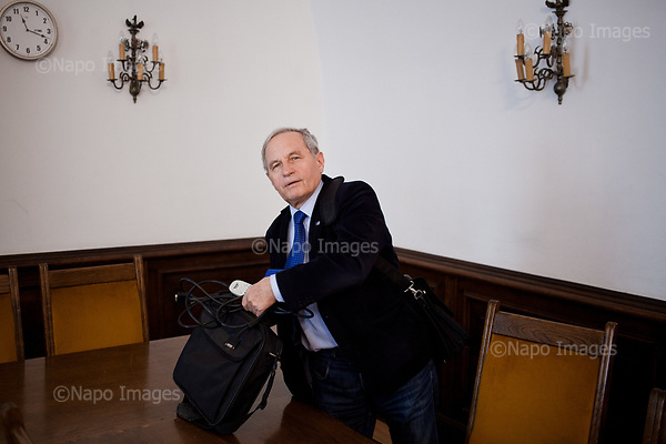 Warsaw, April 7, 2017:<br /> Stanislaw Koziej, Polish army general who recently lost his job is pictured after class at the Warsaw University where he teaches.<br /> Photo by Piotr Malecki / Napo Images<br /> ******<br /> Warszawa, 7/04/2017:<br /> General Stanislaw Koziej, usuniety przez rzad PiS z wojska. Zdjecie wykonane na Uniwersytecie Warszawskim, gdzie general ma wyklady.<br /> Fot: Piotr Malecki / Napo Images