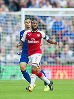 Arsenal's Alexandre Lacazette and Chelsea's Cesar Azpilicueta during the The FA Community Shield Final match between Arsenal and Chelsea at Wembley Stadium, London, England on 6 August 2017. Photo by Andrew Aleksiejczuk / PRiME Media Images.