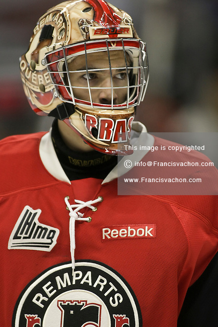 QMJHL (LHJMQ) hockey profile photo on Quebec Remparts Francois Brassard September 30, 2012 at the Colisee Pepsi in Quebec city.