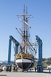 Port Townsend, historic replica sailing ship, Lady Washington, hauled out for hull work Port of Port Townsend, Boat Haven Marina, Olympic Peninsula, Washington State, Pacific Northwest, USA,