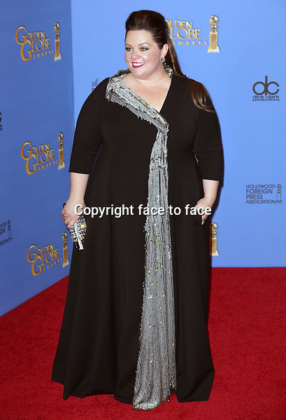 Los Angeles, California - January 12: Melissa McCarthy attending the 2014 Golden Globe Awards - Press Room in Los Angeles, California on January 12, 2014. . <br /> Credit: MediaPunch/face to face<br /> - Germany, Austria, Switzerland, Eastern Europe, Australia, UK, USA, Taiwan, Singapore, China, Malaysia, Thailand, Sweden, Estonia, Latvia and Lithuania rights only -