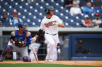 Nashville Sounds right fielder Matt Olson (21) at bat in front of catcher Willson Contreras during a game against the Iowa Cubs on May 4, 2016 at First Tennessee Park in Nashville, Tennessee.  Iowa defeated Nashville 8-4.  (Mike Janes/Four Seam Images)