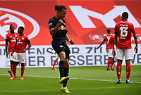 24th May 2020, Opel Arena, Mainz, Rhineland-Palatinate, Germany; Bundesliga football; Mainz 05 versus RB Leipzig; 2 Yussuf Poulsen (RB Leipzig) celebrates the goal, for  0:2 in the 23rd minute