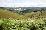 Landscape view over valley, Trendlebere Down, Dartmoor national park, Devon, England, UK