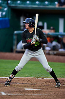 Craig Dedelow (26) of the Great Falls Voyagers bats against the Ogden Raptors at Lindquist Field on September 14, 2017 in Ogden, Utah. The Raptors defeated the Voyagers 7-4 in Game One of the Pioneer League Championship. (Stephen Smith/Four Seam Images)