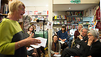 Lynn Brady, Risinghill, speaking, Wendy Jones, author, seated, at the event to discuss Leila Berg's contribution to radical education and children's lives, Houseman's bookshop, London, 22nd May 2013.
