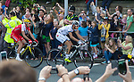 Grand Depart - Tour de France 2014<br /> Yorkshire England.<br /> Leaders go through famous town of Ilkley with Moors in distance.<br /> <br /> stage leaders Voigt, Berrier and Edet  in breakaway group<br /> <br /> <br /> Pic by Gavin Rodgers/Pixel 8000 Ltd