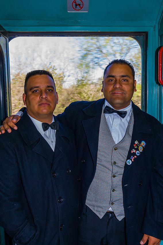 Conductors aboard the Chihuahua al Pacifico Railroad (Chepe) heading to the Copper Canyon at El Fuerte, Mexico