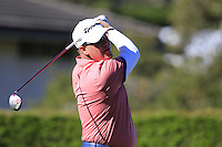 D.A. Points (USA) tees off the 1st tee at Pebble Beach Golf Links during Saturday's Round 3 of the 2017 AT&amp;T Pebble Beach Pro-Am held over 3 courses, Pebble Beach, Spyglass Hill and Monterey Penninsula Country Club, Monterey, California, USA. 11th February 2017.<br /> Picture: Eoin Clarke | Golffile<br /> <br /> <br /> All photos usage must carry mandatory copyright credit (&copy; Golffile | Eoin Clarke)