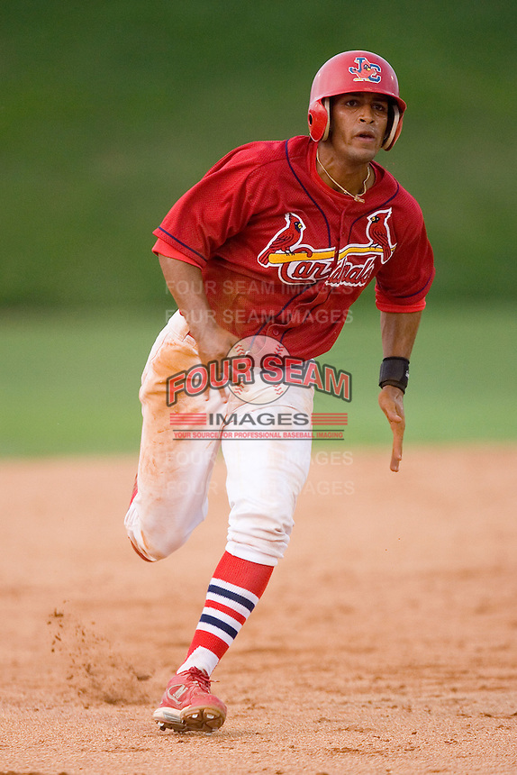 Ted Obregon #15 of the Johnson City Cardinals hustles towards third base versus the Bluefield Orioles at Howard Johnson Field August 1, 2009 in Johnson City, Tennessee. (Photo by Brian Westerholt / Four Seam Images)