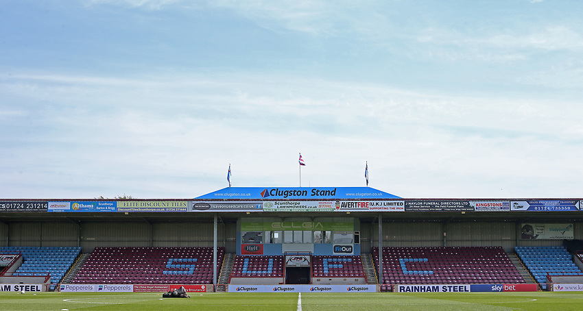 A general view of Glanford Park, home of Scunthorpe United FC<br /> <br /> Photographer David Shipman/CameraSport<br /> <br /> The EFL Sky Bet League One - Scunthorpe United v Blackpool - Friday 19th April 2019 - Glanford Park - Scunthorpe<br /> <br /> World Copyright © 2019 CameraSport. All rights reserved. 43 Linden Ave. Countesthorpe. Leicester. England. LE8 5PG - Tel: +44 (0) 116 277 4147 - admin@camerasport.com - www.camerasport.com