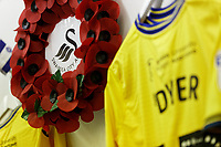 A wreath in the Swansea changing room prior to the Sky Bet Championship match between Sheffield Wednesday and Swansea City at Hillsborough Stadium, Sheffield, England, UK. Saturday 09 November 2019