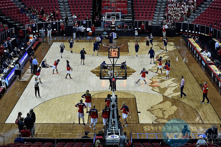 08 MAR 2016: Fresno State University takes on Utah State University during the 2016 Mountain West Conference Women's Basketball Championship at the Thomas & Mack Center in Las Vegas, NV. Justin Tafoya/NCAA Photos