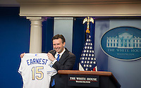 Washington DC, July 21 2016, USA- White House Press Secretary, Josh Earnest holds up a Kansas City Royal jersey given to him by some of the Kansas City Royal players during a press conference at the White House. President Barack Obama welcomes the Kansas City Royals to the White House to honor the team and their 2015 World Series victory. This visit will continue the tradition begun by President Obama of honoring sports teams for their efforts to give back to their communities.  Patsy Lynch/MediaPunch