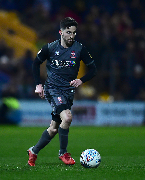 Lincoln City's Tom Pett<br /> <br /> Photographer Andrew Vaughan/CameraSport<br /> <br /> The EFL Sky Bet League Two - Mansfield Town v Lincoln City - Monday 18th March 2019 - Field Mill - Mansfield<br /> <br /> World Copyright © 2019 CameraSport. All rights reserved. 43 Linden Ave. Countesthorpe. Leicester. England. LE8 5PG - Tel: +44 (0) 116 277 4147 - admin@camerasport.com - www.camerasport.com