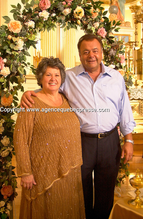 August 14 2002, Montreal, Quebec, Canada<br /> <br /> EXCLUSIVE PHOTO<br /> Actress Ginette Reno and Actor Paul Sorvino, on the set on MAMBO ITALIANO,<br /> in Laprairie,  south of   Montreal, Quebec, Canada<br /> August 14 2002<br /> <br /> <br /> Mandatory Credit: Photo by Pierre Roussel- Images Distribution. (&copy;) Copyright 2002 by Pierre Roussel <br /> <br /> NOTE : <br />  Nikon D-1 jpeg opened with Qimage icc profile, saved in Adobe 1998 RGB<br /> .Uncompressed  Uncropped  Original  size  file availble on request.