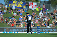 New Zealand captain Tim Southee directs his fielders during the 4th Twenty20 International cricket match between NZ Black Caps and England at McLean Park in Napier, New Zealand on Friday, 8 November 2019. Photo: Dave Lintott / lintottphoto.co.nz