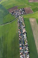 village development, aerial view, farmland, Casarrubios del Monte, La Mancha, Spain