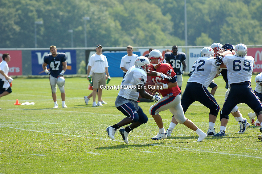 Three time Super Bowl Champion New England Patriots hold their 2005 training camp.