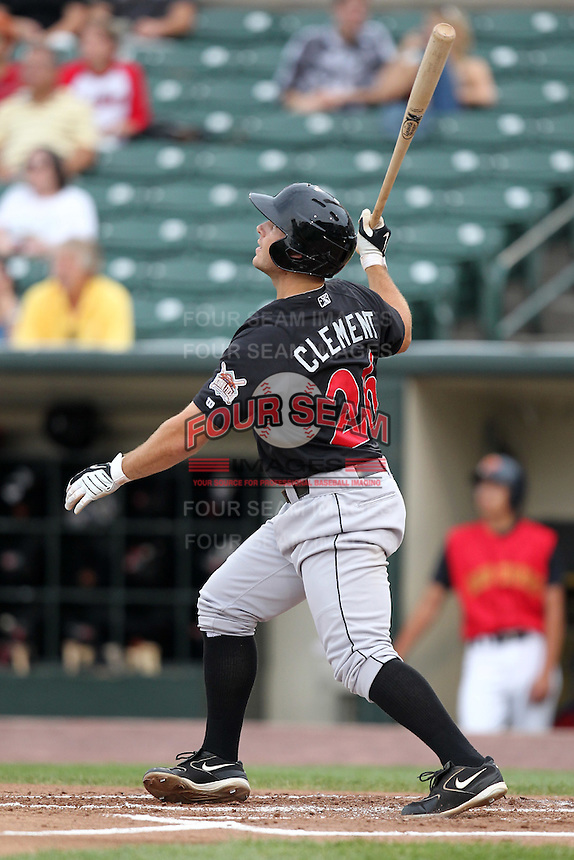 Indianapolis Indians Jeff Clement hits a home run during a game vs. the Rochester Red Wings at Frontier Field in Rochester, New York;  July 17, 2010.   Indianapolis defeated Rochester 10-7.  Photo By Mike Janes/Four Seam Images