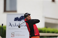 Sebastian Heisele (GER) tees off the 1st tee during Saturday's storm delayed Round 2 of the Andalucia Valderrama Masters 2018 hosted by the Sergio Foundation, held at Real Golf de Valderrama, Sotogrande, San Roque, Spain. 20th October 2018.<br /> Picture: Eoin Clarke | Golffile<br /> <br /> <br /> All photos usage must carry mandatory copyright credit (&copy; Golffile | Eoin Clarke)