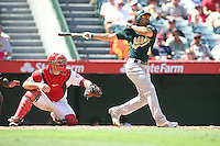 09/13/12 Anaheim, CA: Oakland Athletics center fielder Coco Crisp #4 during an MLB game played between the oakland Athletics and Los Angeles Angels at Angel Stadium. The Angels defeated the A's 6-0.