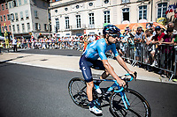 Mikel Landa (ESP/Movistar) on his way to the pre race sign- on.<br /> <br /> Stage 8: Macon to Saint-Etienne (200km)<br /> 106th Tour de France 2019 (2.UWT)<br /> <br /> ©kramon
