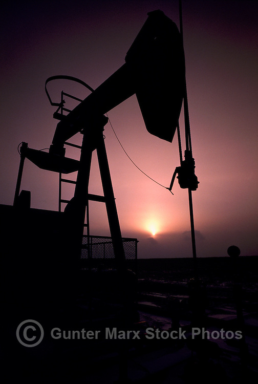 Pump Jack (Oil Donkey) pumping in Oil Field near Dawson Creek, Northern British Columbia, BC, Canada - Sunrise