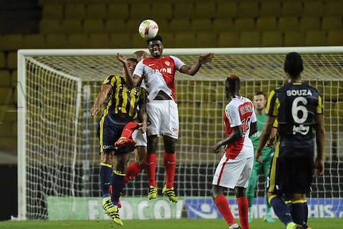 03.08.2016. Monaco, France. UEFA Champions league qualifying round, AS Monaco versus Fenerbahce.  Jemerson (mon) wins the clearing header