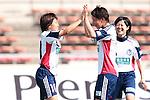 (L to R) <br /> Aya Miyama, <br /> Motoyo Hosokawa, <br /> Riyo Kuzuma (Belle), <br /> MAY 4, 2014 - Football /Soccer : <br /> Plenus Nadeshiko League 2014 <br /> between Urawa Reds Ladies 1-3 Okayama Yunogo Belle <br /> at Saitama Urawa Komaba Stadium, Saitama, Japan. <br /> (Photo by AFLO SPORT) [1205]