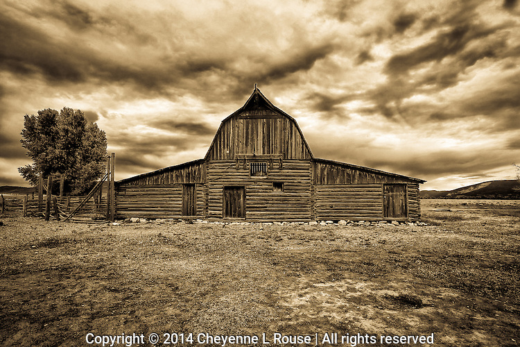 Mormon Row Barn (sepia) - Wyoming - Grand Teton NP