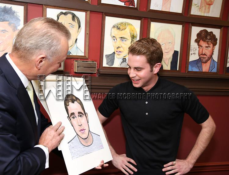 Ben Pratt and Max Klimavicius attends the Ben Platt Sardi's Portrait unveiling at Sardi's on May 30, 2017 in New York City.